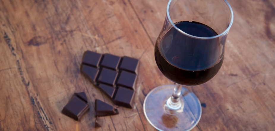 dark chocolates and red wine